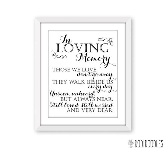 In loving memory printable sign for wedding by dodidoodles on etsy for In loving memory free printable