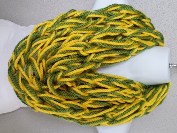 green and yellow arm knitted infinity scarf green bay