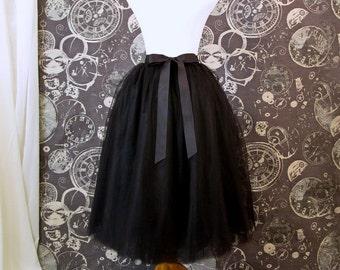 Black Tulle Skirt With Ribbon Waistband - Adult Tea Length Tutu - Midi Skirt - Custom Size, Made to Order