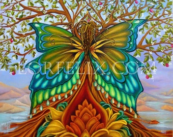 Tree of Life, Butterfly Goddess, Lotus flower,Rainbow colors,  Archival print, Rainbow goddess