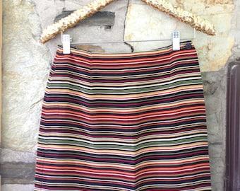 Stripped Yellow, Green, Red, Black Front Flap Pencil Skirt Jones New York