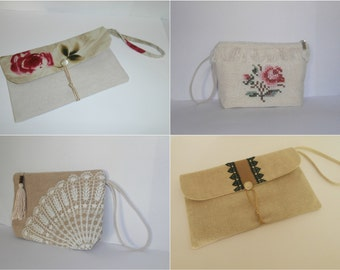 Thin wristlet addition - add a thin linen wristlet to your pouch or envelope clutch, bridesmaid gift bag, wedding bag