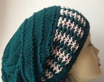Hand Knitted Hat, Slouchy beanie hat, slouchy forest green color hat, hand knit women men hat, chunky slouchy knitted hat, winter cosy knit