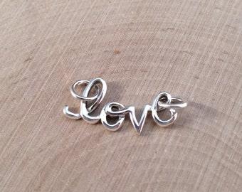 Love Charm, Love Pendant, Cursive Love Charm, Silver Love Charm, Silver Love Pendant, Openwork Love Charm, Valentine's Charm