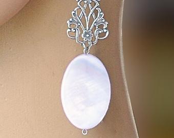Long, elegant, hanging earrings, natural nacre, bride's jewelry, Vintage wedding, white jewelery, handmade bijouterie, lady gift, luxury