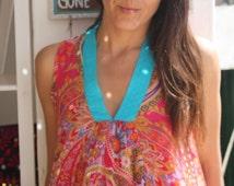 Ibiza style chiffon  sundress in happy pinky flower print.