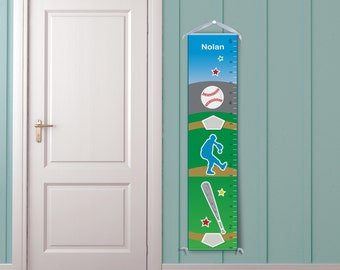 Baseball, Blue, Green, Personalized Growth Chart