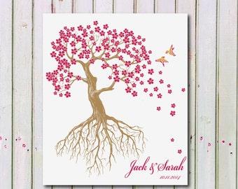 Personalized Wedding Tree Art Print, Wedding Art Print Gift, Personalized Tree with Birds Art Print 139