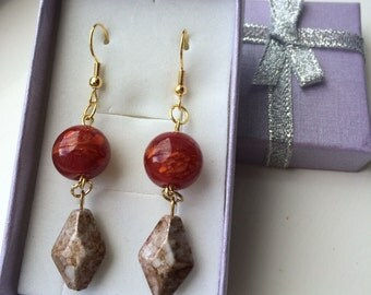 Red and Beige Dangly Earrings
