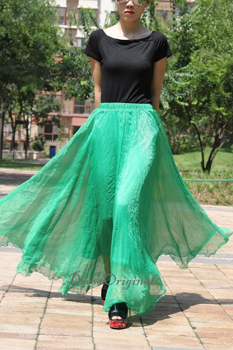 Emerald Green Maxi Skirt Long Chiffon Skirt Maxi By