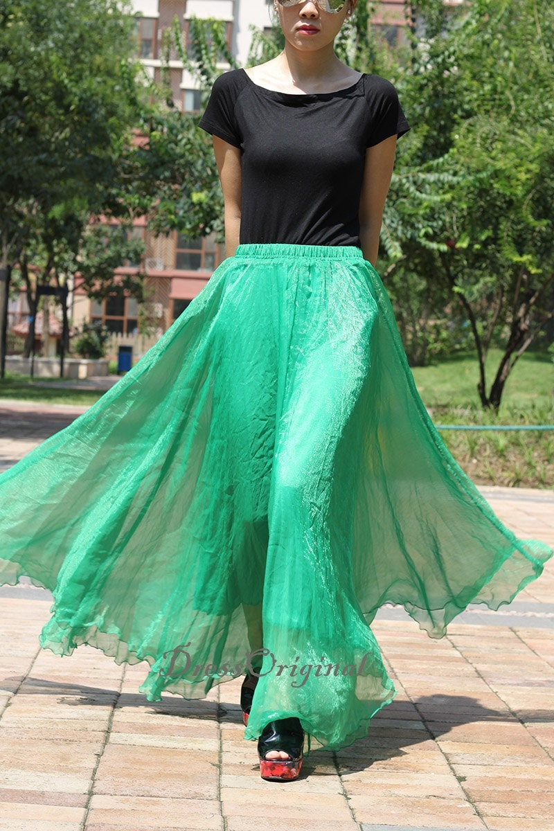Emerald Green Maxi Skirt Long Chiffon Skirt Maxi Dress Silk