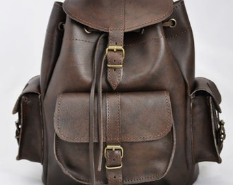 Leather Backpack -Leather three pocket Rucksack-Handmade Dark Brown-Leather Satchel-MEDIUM