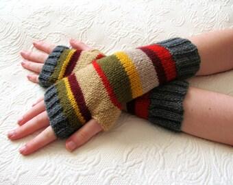 4th Doctor Who Inspired Fingerless Gloves size medium