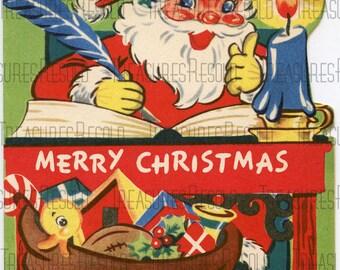 Retro Merry Christmas Santa Card #153 Digital Download