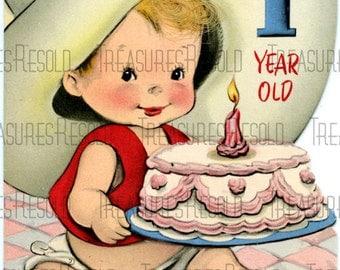 Happy Birthday One Year Old Cowboy Card #234 Digital Download