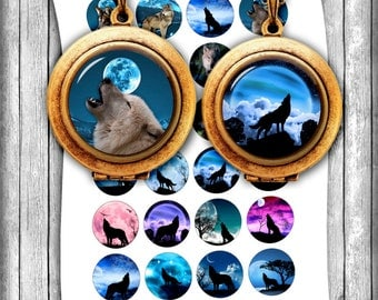 Wolves Bottle cap images - Instant Download - 1 inch, 25mm, 30mm, 1.5 inch Printable Images - Collage Sheet