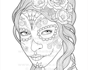 Digital Stamp Day of the Dead Calavera Girl digistamp