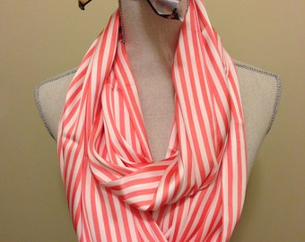 Coral Striped Infinity Scarf
