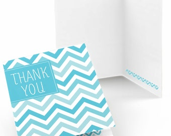 Set of 8 Thank You Cards - Blue Chevron Greeting Card