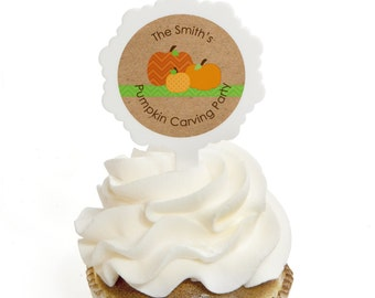 12 Pumpkin Patch Cupcake Picks - Fall Cupcake Decoration Kit for a Baby Shower, Birthday Party or Everyday Celebration