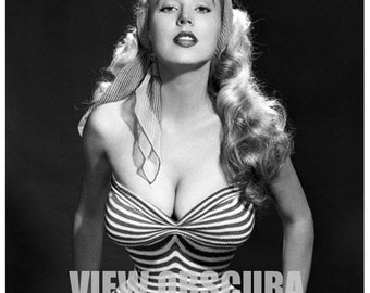 The Perfect Hour-Glass Figure - Vintage Pin Up Model Betty Brosmer - 8 x 10 Black and White Photograph - Playboy - Pin Up