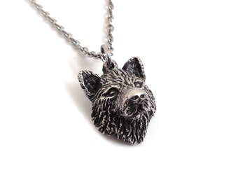 Wolf Head Necklace, Werewolf Pendant in Pewter, Handmade Jewelry