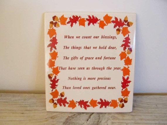 Vintage Ceramic Tile Autumn Leaves Acorns Brown Orange Thanksgiving Verse 1970s