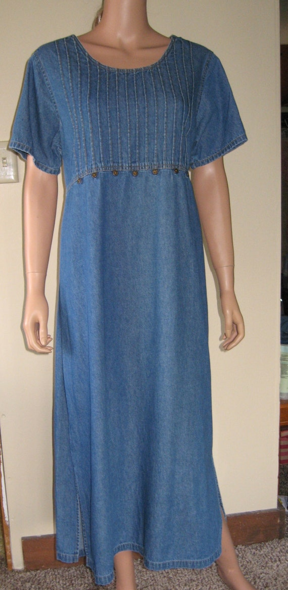 Denim Dress By Erika Amp Co Cotton Maxi Length Empire Waist