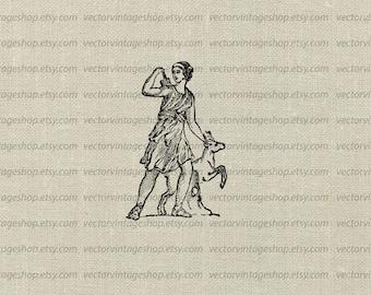 Diana Goddess Vector Clip Art Graphic Huntress Ancient Roman Myth Clipart Illustration Artemis Goddess Hunt Commercial Use WEB1727CA