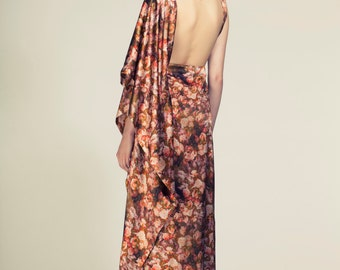 Floral Printed Open Back Dress