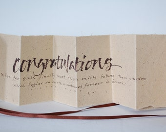 Congratulations, Victor Hugo Love quote, Luxury anniversary engagement wedding card, natural bagasse brown paper, uk, for men, for women