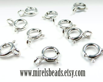 10 pcs Sterling Silver Spring Ring Clasp, 5.5mm