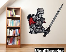 Medieval Knight Wall Decal - Wall Fabric - Vinyl Decal - Removable and Reusable - MedievalKnightUScolor002ET