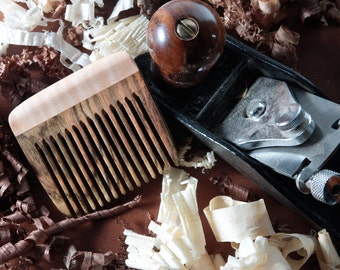 Handmade Beard Comb Wood Bocote Curly Maple Handmade Fine Tooth Best Fathers Gift for Him Natural Pocket Static Free Long Hair Eco Friendly