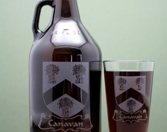 Family Crest  HomeBrew Growler & one or two 16oz glass set.  Home brew, , Beer Glass, Beer Tools, Beer