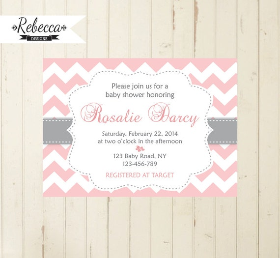 baby shower invitation pink and grey chevron baby pink and grey invite