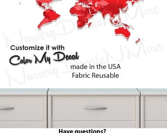 World Map Decal, Large Map Decal, Geography Wall Art, World Map Wall Art (WorldmapExtruded_Red_MINI )