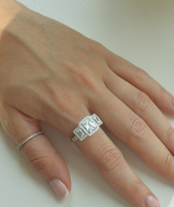 1 75 Carat Emerald Cut Engagement Ring in 14K White Gold