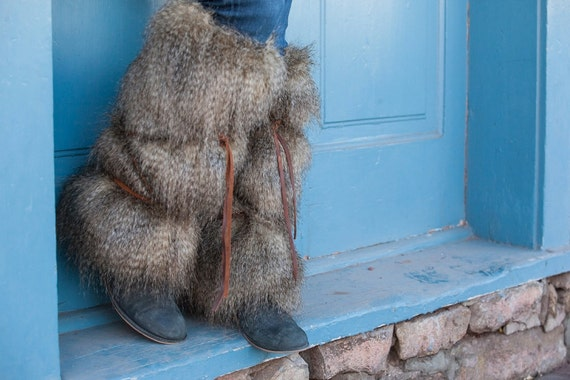 brown tipped faux fur boot covers by crystalrosefashions