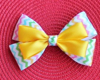Chevron Boutique Hair Bow - Yellow Chevron Hair Bow - Easter Hair Bow