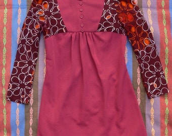 1960s Mini Dress in Maroon with Patterned Long Sleeves
