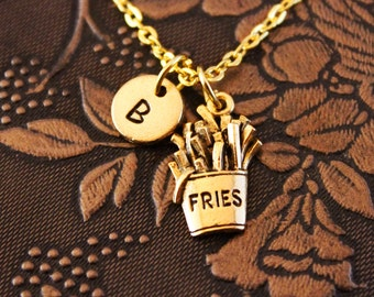 Gold French Fry Necklace, Custom Initial Necklace, Personalized Necklace, Engraved Necklace, French Fries Charm Necklace, Monogram Necklace
