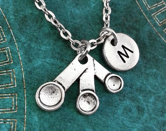 Measuring Spoons Necklace, Personalized Necklace, Measuring Spoon Pendant, Baker Gift, Chef Necklace, Monogram Necklace, Charm Necklace Cook