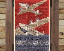 New York wall art print - WPA poster - retro 1930's wall art - dictionary page art print