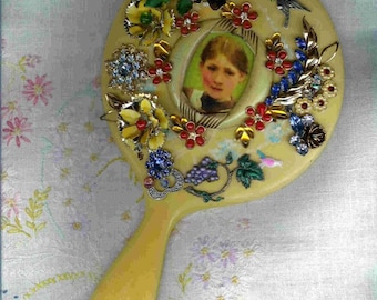 A Child of Spring ~ Antique hand mirror with embellishments adorning a lovely girl
