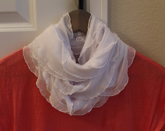 White ruffle knit infinity scarf. Lightweight and airy! Beautiful necklace scarf. Not bulky! Perfect scarf for any season!