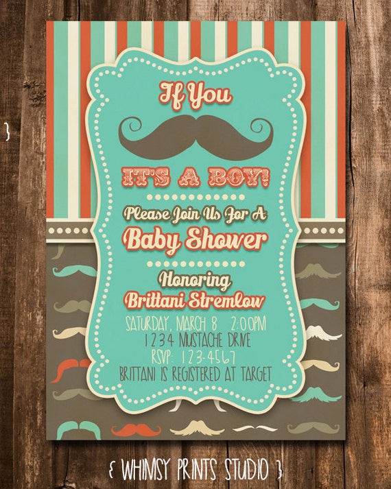 Baby Boy Shower Invitation Mustache Baby Shower Invite Digital Printable Party Invite No. 44