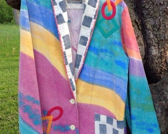 Modern Art Geometric Jacket, Canvasbacks one of a kind, painted canvas with appliqués, women's small