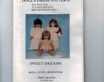 Doll Sewing Pattern Classic Clothes 18 Inch Doll American Girl Type Nightgown Pjs Sweet Dreams Past Crafts UNCUT