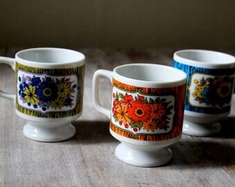 1960s Japan Mod Floral Mugs   Set of 3